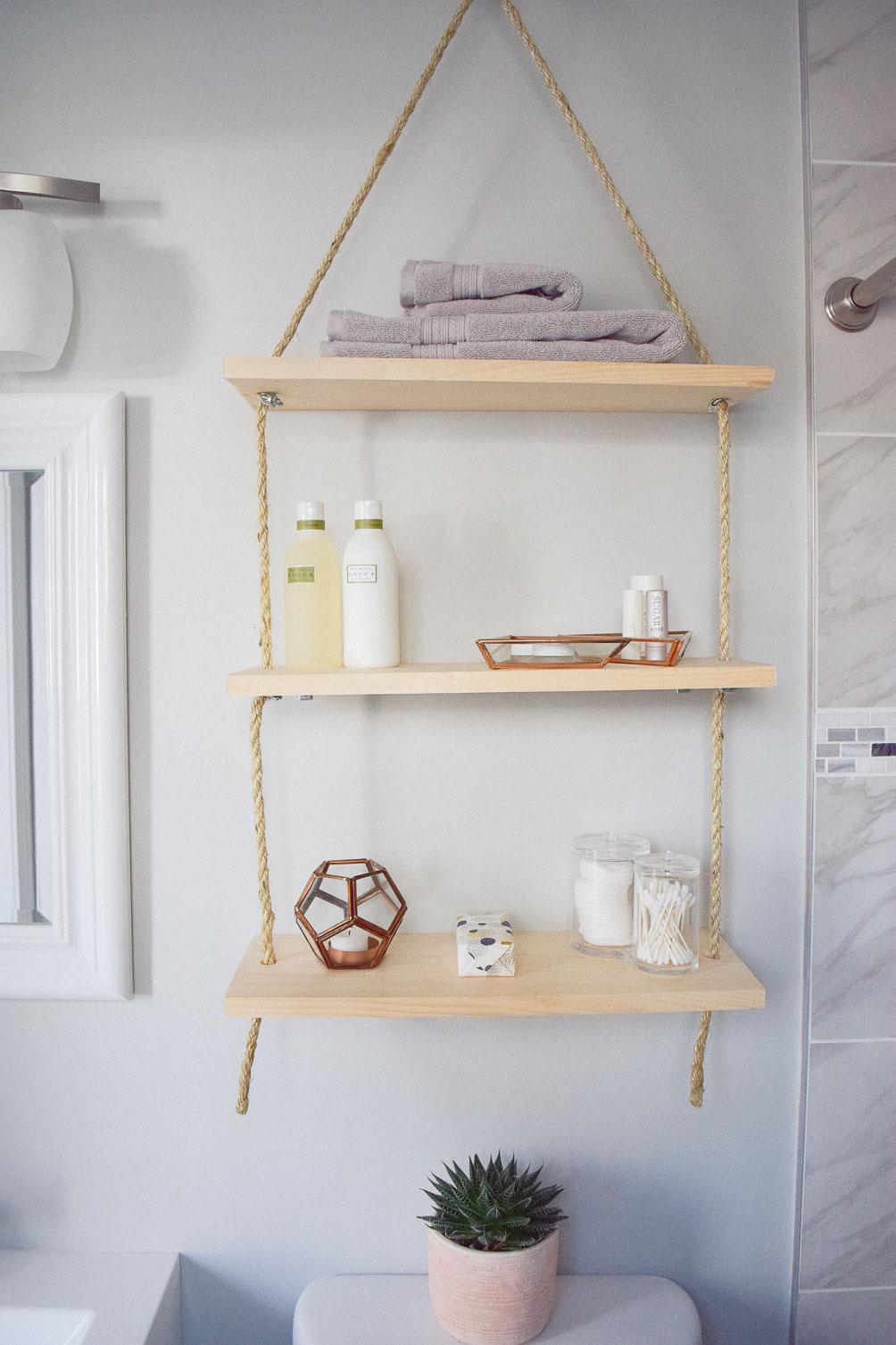 Divine Sharing An Idea To Update Home Decor Diy Hanging Shelves Bathroomstorage Diy Hanging Shelves One Brass Fox Bathroom Hanging Shelf Unit Steel Hanging Bathroom Shelf bathroom Bathroom Hanging Shelf