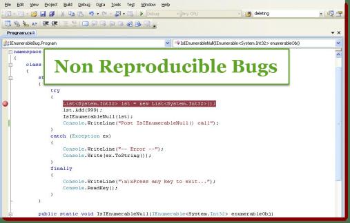 Non Reproducible Bug