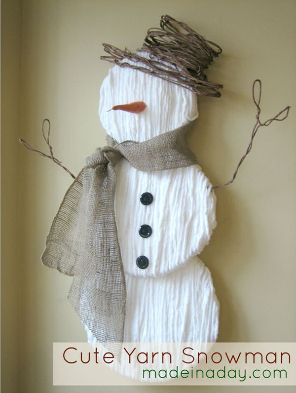 Snowman Crafts and Gift Ideas   onecreativemommy com Snowman Crafts and Gift Ideas from OneCreativeMommy com  Cute Yarn Snowman  from Made in
