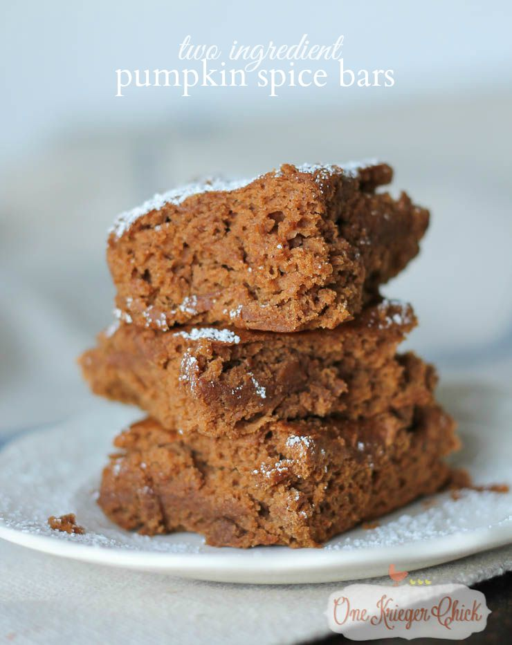 Easy and Delicious 2 Ingredient Pumpkin Spice Bars- A family Favorite at our house!-OneKriegerChick