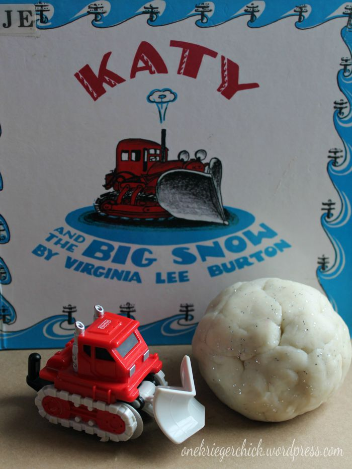 Snow Playdough with Katy and the Big Snow- A fun winter activity kids will love! OneKriegerChick.com
