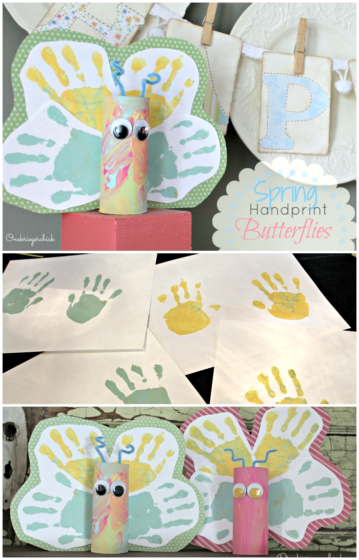Handprint Butterflies- Cute, fun, and made with supplies we all have! OneKriegerChick.com