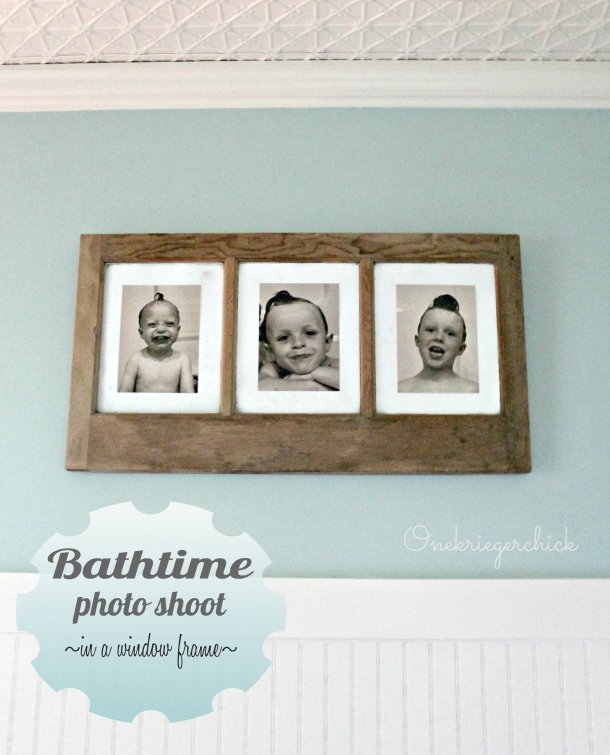 Bathtime Photo Shoot~perfect bathroom wall art in an old window! {Onekriegerchick