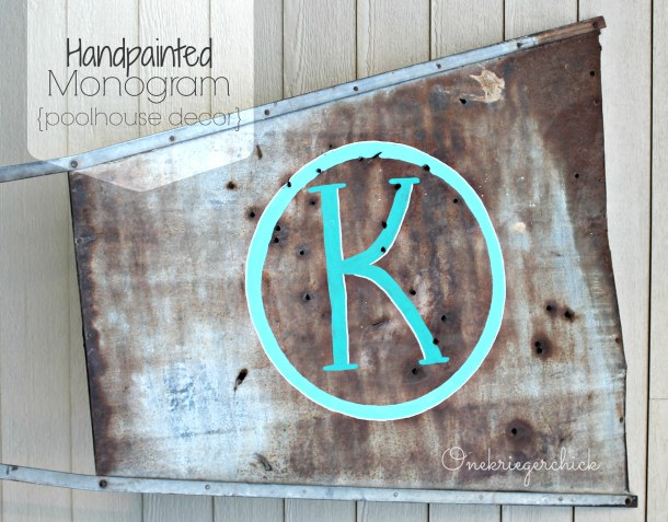 DIY Handpainted Monogram on a windmill vane {Onekriegerchick.com}