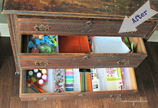 Dresser organized with Nap bins {Onekriegerchick.com}