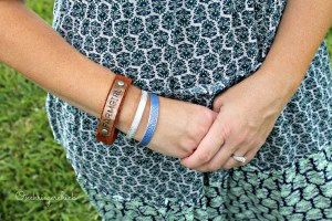 Farmgirl stamped leather bracelet with cuffs from STuck in the Coop {Onekriegerchick.com}