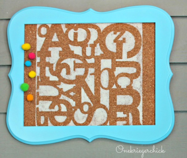 DIY Easy stenciled bulletin board {Onekriegerchick.com}
