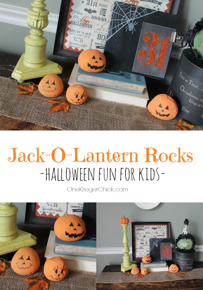 Jack-o-lantern Rocks-fun and easy kids craft! OneKriegerChick.com