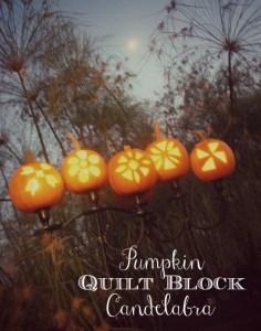 Pumpkin quilt block candelabra {1}
