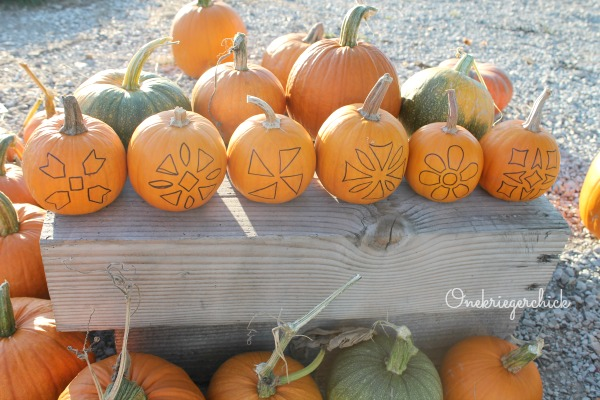 Quilt block pumpkins ready to carve