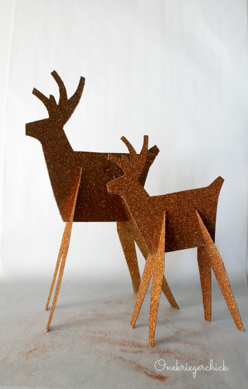 DIY Gold Glitter Deer