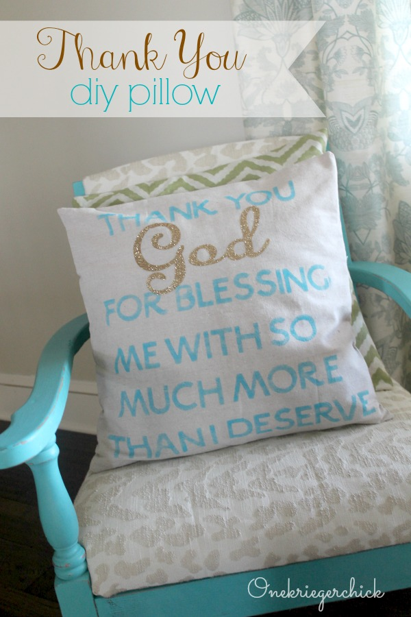 DIY Thank You pillow using Cricut iron-on vinyl