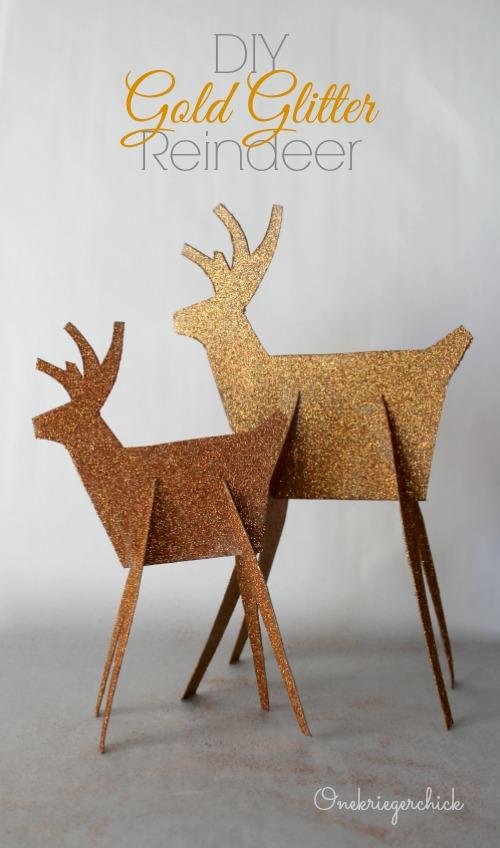 DIY Gold Glittered Reindeer {Onekriegerchick}