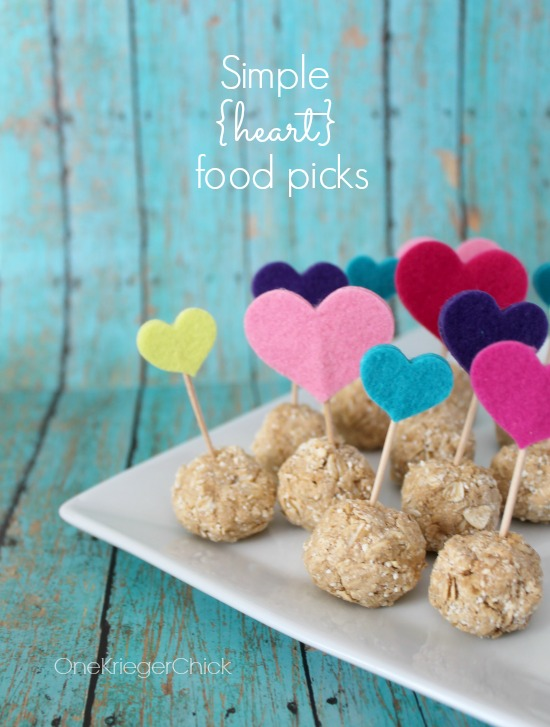 How cute would these simple heart food picks for Valentines Day!