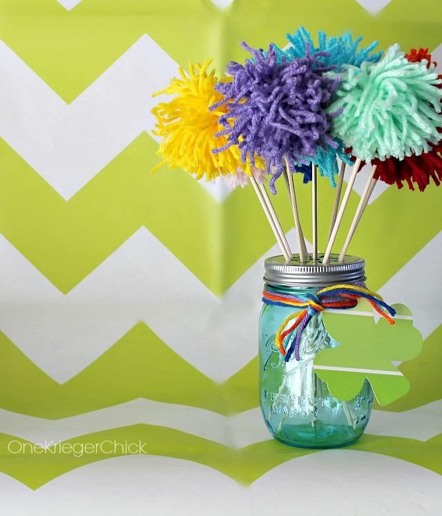 Pom Pom bouquet for St. Patrick's Day