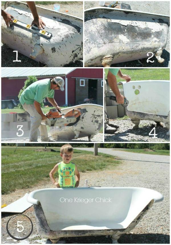 Cutting a Cast Iron Bathtub to make an Outdoor Sofa