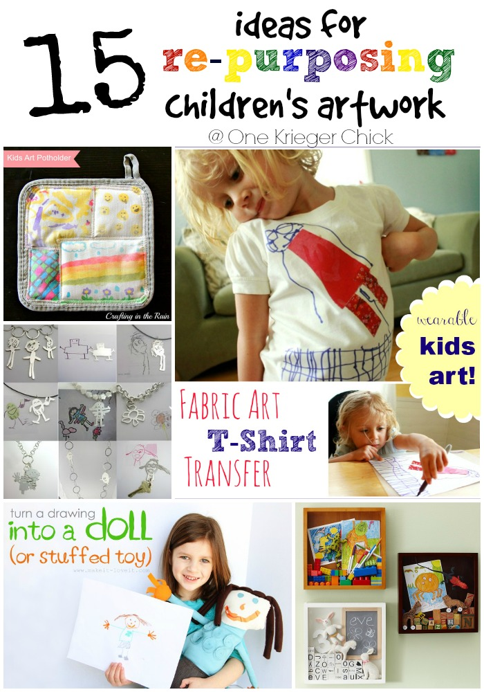 15 Ideas for Repurposing Children's Artwork I OneKriegerChick.com