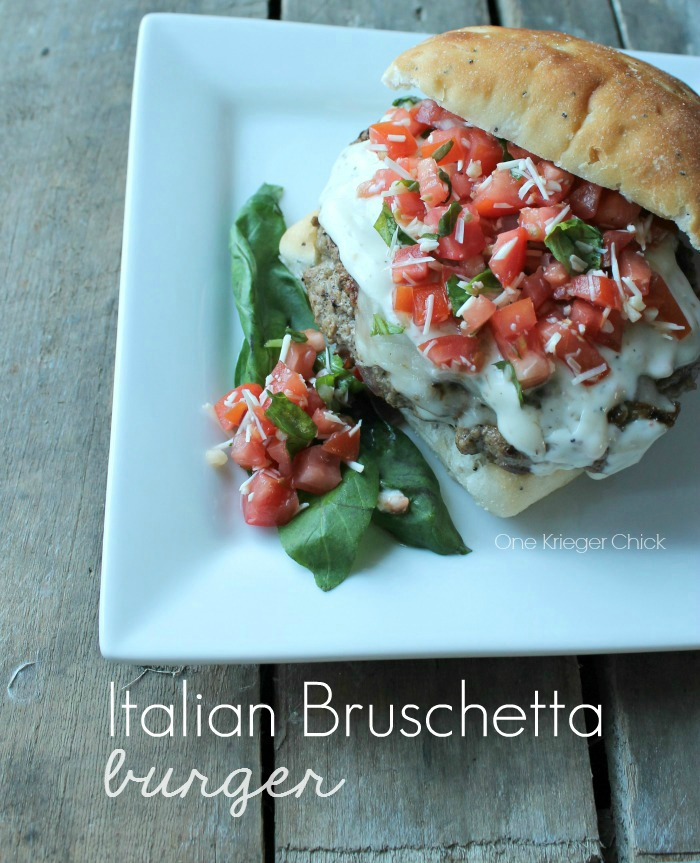Cheesy Italian Burger with homemade Bruschetta Topping 2