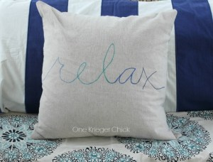 RELAX pillow-made with sharpies I OneKriegerChick.com
