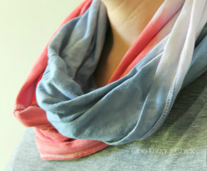 Red, White, and Blue dip dyed T-shirt scarf