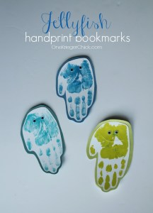 Handprints turned into Jellyfish bookmarks...so cute!