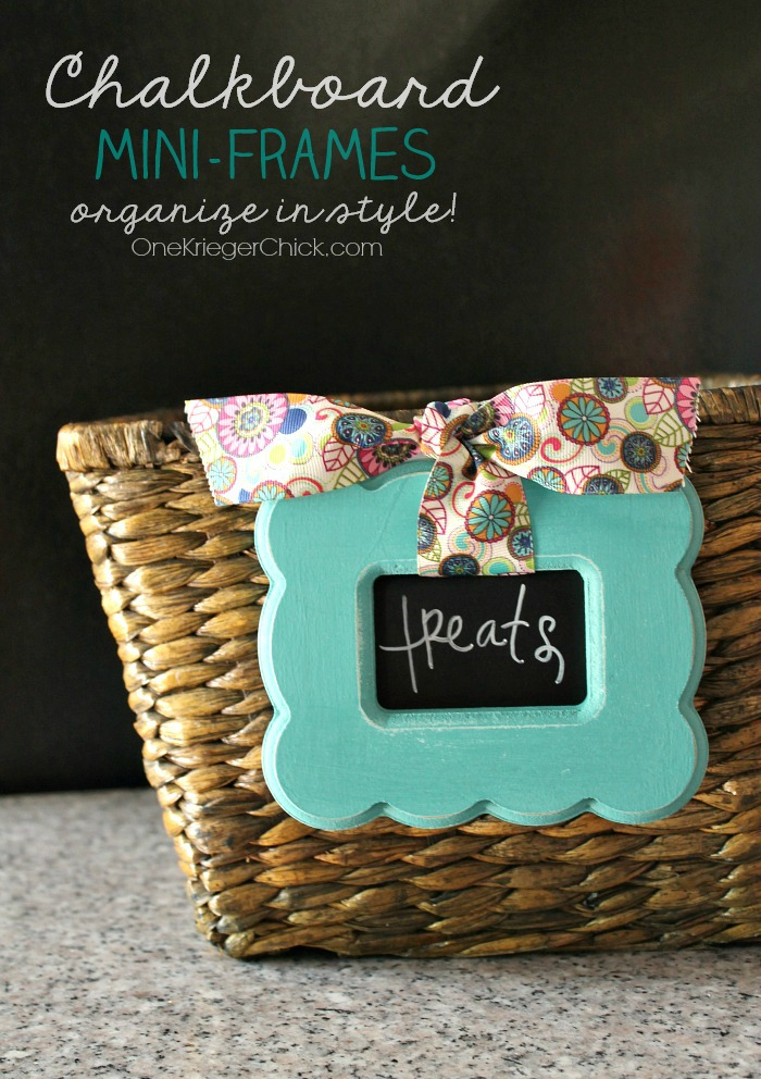 Chalk painted mini-frames- perfect for decorative labels! OneKriegerChick.com