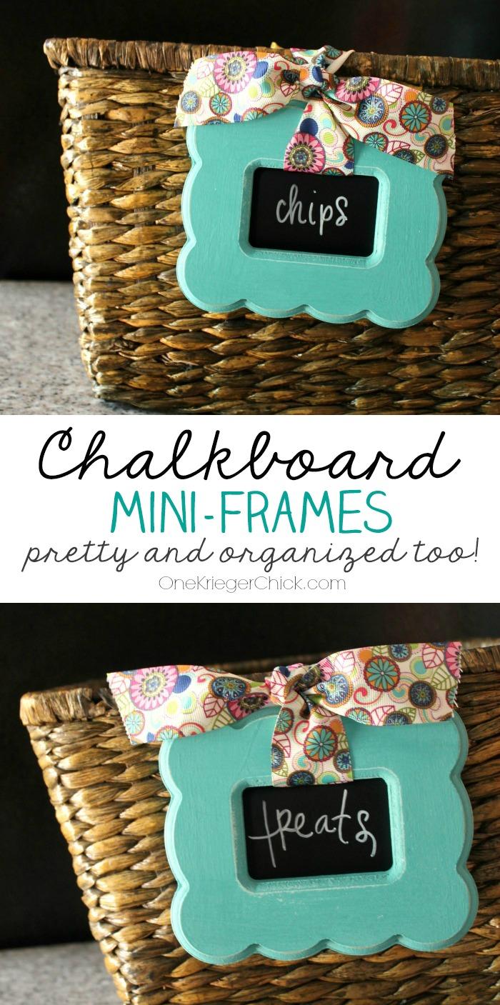 Chalkboard mini-frames-pretty-and-organized-too! OneKriegerChick.com