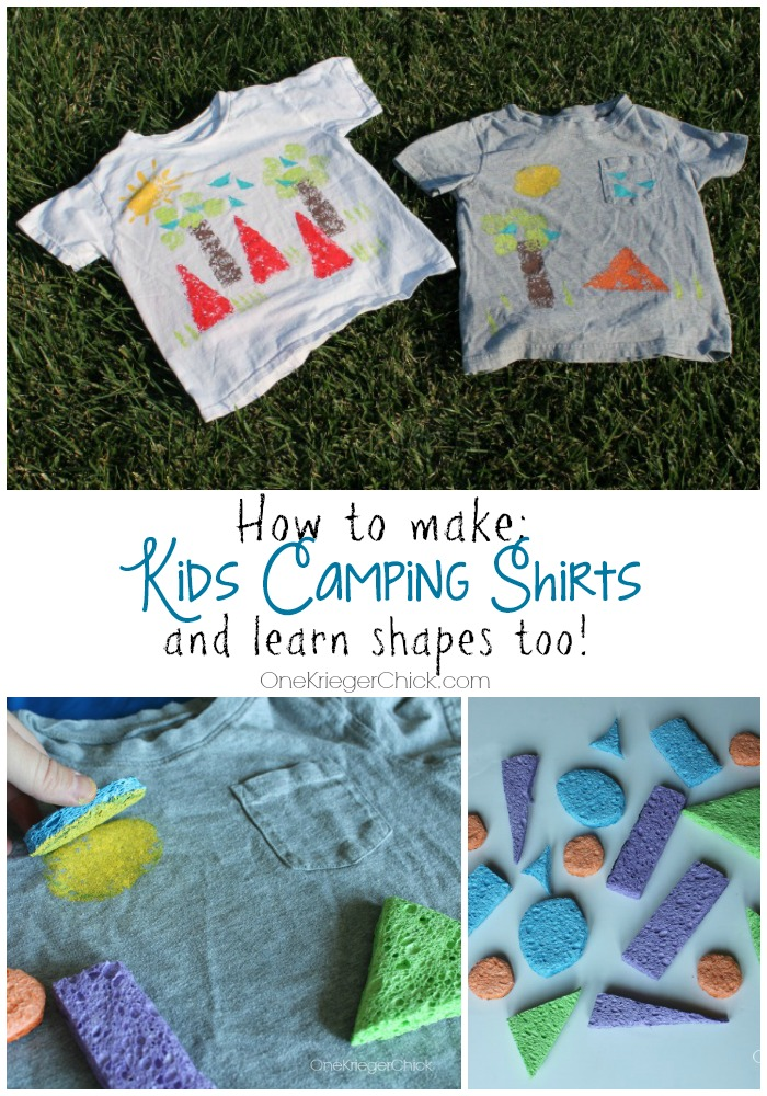How to make Kids Camping themed shirts and learn shapes too! OneKriegerChick.com