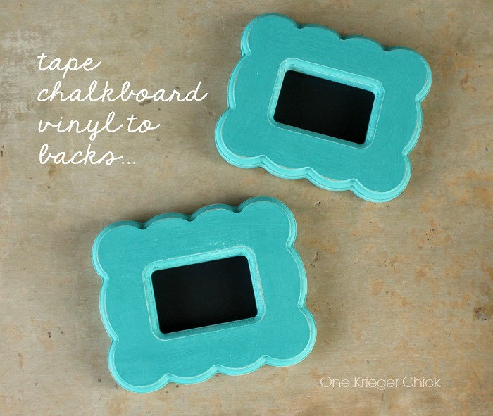 tape chalkboard vinyl to backs of frame for easy chalkboards! OneKriegerChick.com