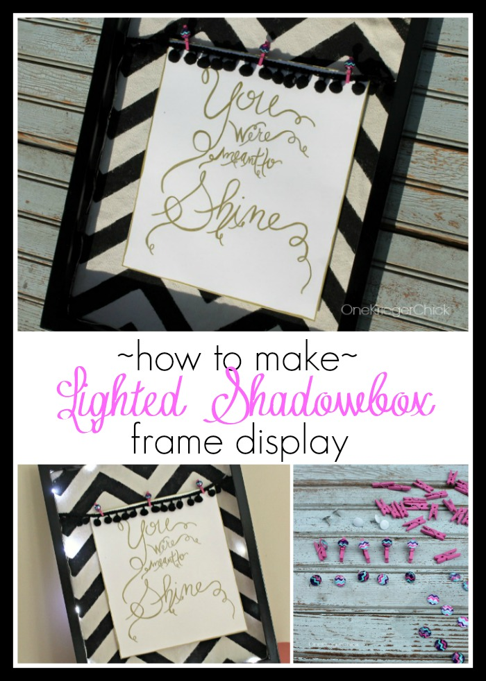 How to make a Lighted Shadowbox Frame Display #thebigbling OneKriegerChick.com