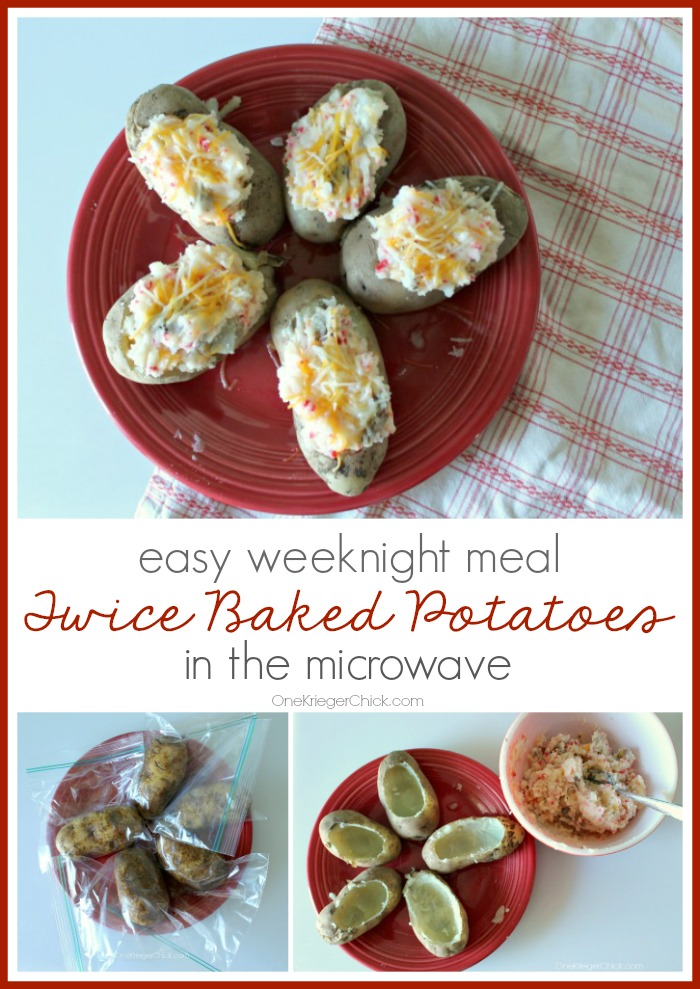 Microwaved Twice Baked Potatoes-Such an easy weeknight meal! OneKriegerChick.com