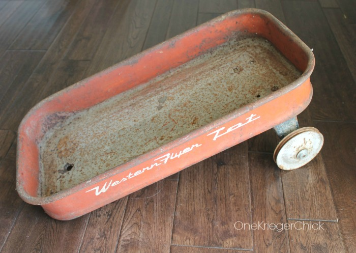 Old wagon before turning into a serving tray- OneKriegerChick.com