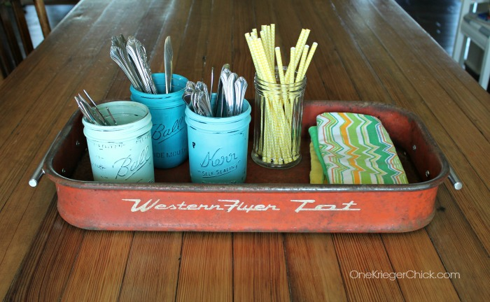 Wagon turned into a serving tray-OneKriegerChick.com