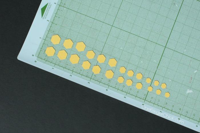 mini hexagon earrings- cutting shapes on #CricutExplore #DesignSpaceStar OnrKriegerChick.com