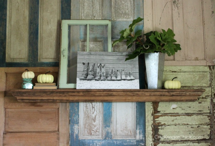 Cowboy boot family photo- what a cool idea!  Love this mantel from OneKriegerChick.com