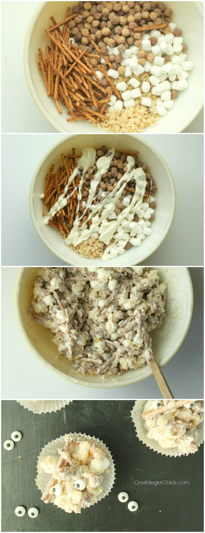 Quick and easy Mummy Munch Mix-Perfect for a Halloween Party! OneKriegerChick.com