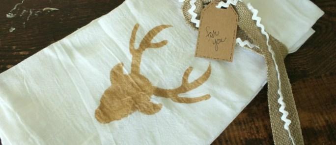 Stenciled Tea Towels {hostess gift idea}