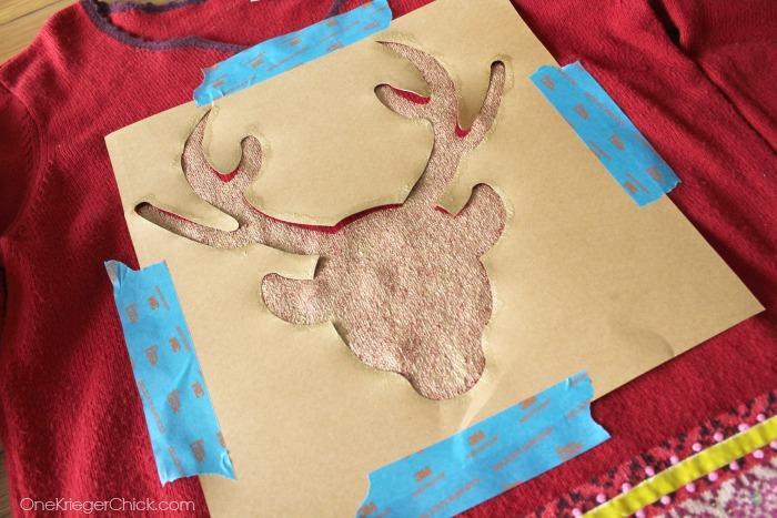 Painted deer stencil- OneKriegerChick.com #uglysweaterchallenge
