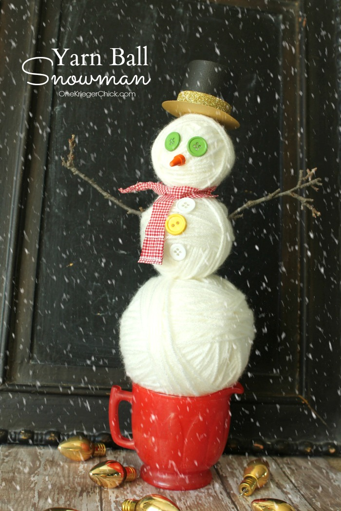 Yarn Ball Snowman decor- OneKriegerChick.com