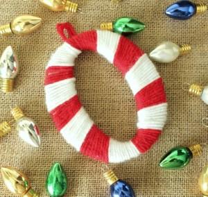 Yarn Wrapped Monogram Christmas Ornament- OneKriegerChick.com