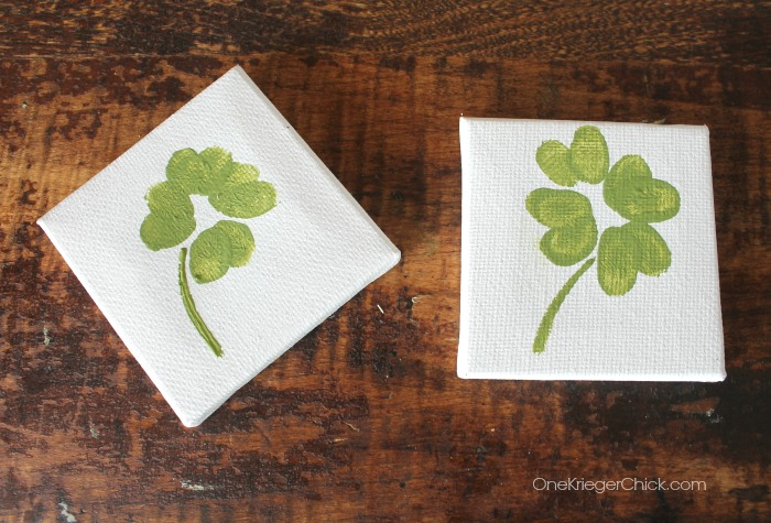 Fingerprint Shamrocks- Cute kids craft!- OneKriegerChick.com