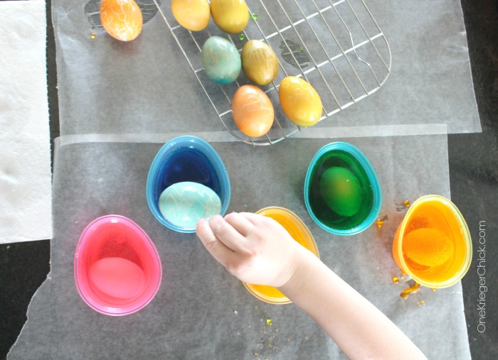 Dying Eggs couldn't be easier! Love the PAAS Egg dying kits! OneKriegerChick.com