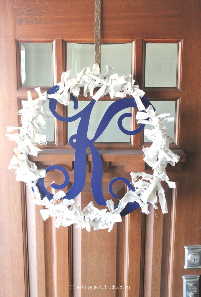 M is for Monogram Scrappy Wreath- almost finished- OneKriegerChick.com