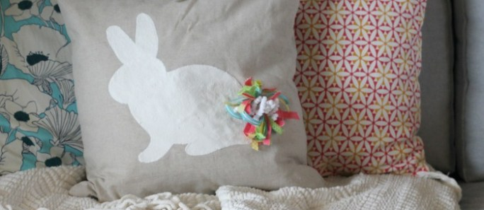 Easter Bunny Pillow with pompom tail