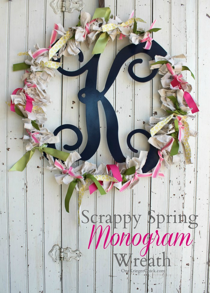 Scrappy Spring Monogram Wreath- OneKriegerChick.com