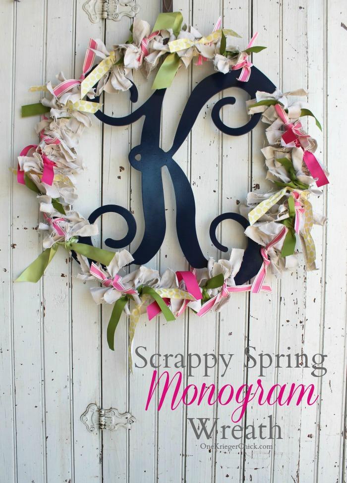 Scrappy Spring Monogram Wreath- OneKriegerChick.com
