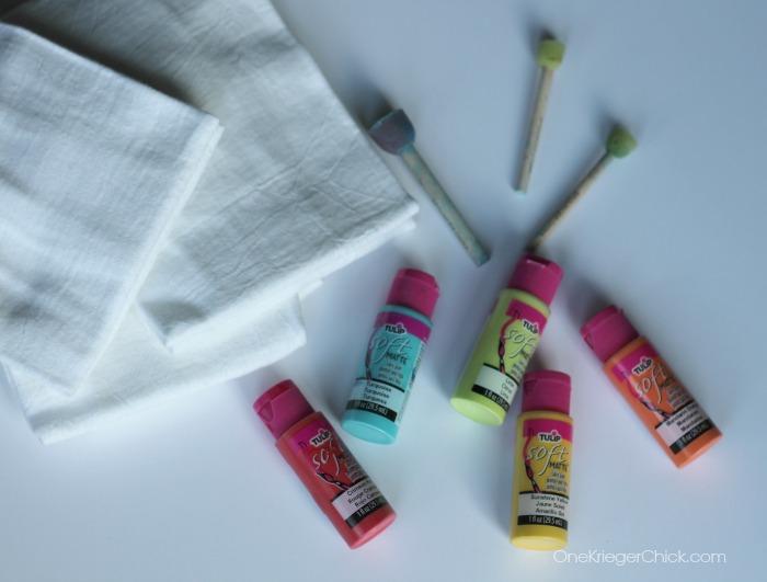 Supplies for polka dot tea towels- OneKriegerChick.com