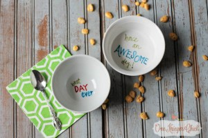 Make your own Personalized Special Message Dishes in less than 15 minutes- OneKriegerChick.com 5-1