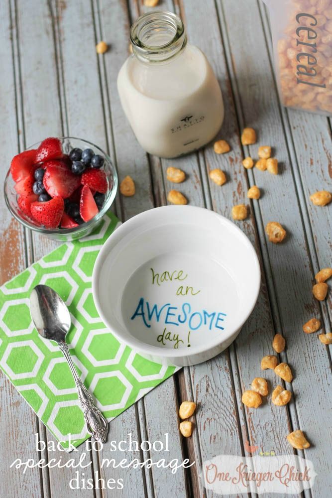 Make your own Personalized Special Message Dishes in less than 15 minutes- perfect for kids to start the day off on a positive note! OneKriegerChick.com