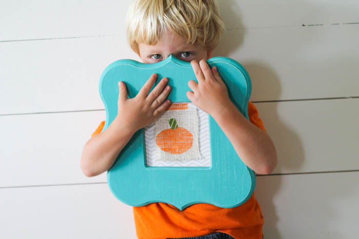 Kids Stamping Craft turned into Pumpkin Print Art- Darling Fall decor!- OneKriegerChick